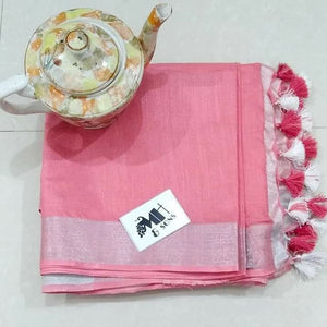Stylish Peach Color Heavy Linen Saree. - Bollywood Replica Saree