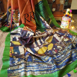 Attractive Multi Color Digital Flower Printed Heavy Linen Saree. (ms1903) - Bollywood Replica Saree