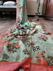Stylish Perrot Color Digital Flower Printed Heavy Linen Saree. - Bollywood Replica Saree