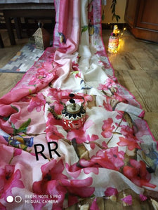 Exclusive Pink Color Digital Flower Printed Heavy Linen Saree. - Bollywood Replica Saree