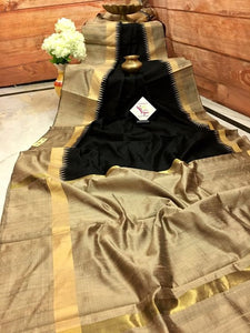 Designer Black And Cream Color Printed Heavy Linen Saree. - Bollywood Replica Saree