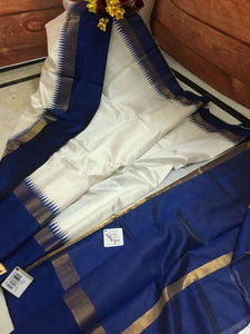 Designer White And Blue Color Printed Heavy Linen Saree. - Bollywood Replica Saree