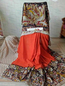 Traditional Orange Kalamkari Printed Pure Linen Saree. - Bollywood Replica Saree