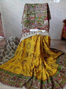Traditional Dark Yellow Kalamkari Printed Pure Linen Saree. - Bollywood Replica Saree