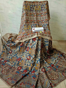 Traditional Kalamkari Printed Pure Linen Saree. - Bollywood Replica Saree