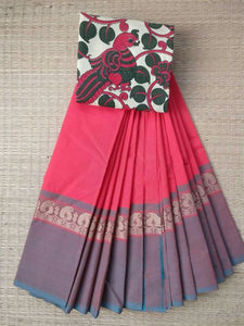 Baby Pink Color Printed Soft Linen Saree. - Bollywood Replica Saree