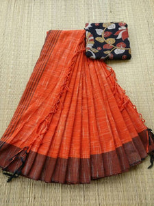 Wonderfull Orange Color Printed Soft Linen Saree. - Bollywood Replica Saree