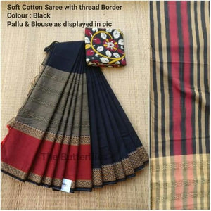 Wonderfull Navy Blue Color Printed Soft Linen Saree. - Bollywood Replica Saree