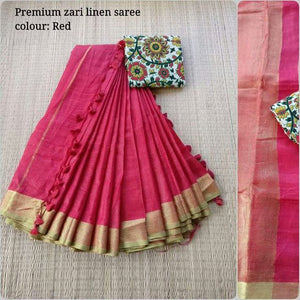Attractive Pink Color Printed Soft Linen Saree. - Bollywood Replica Saree