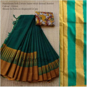 Designer Green Color Printed Soft Linen Saree. - Bollywood Replica Saree