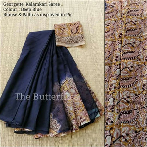 Exclusive Navy Blue Color Printed Soft Linen Saree. - Bollywood Replica Saree