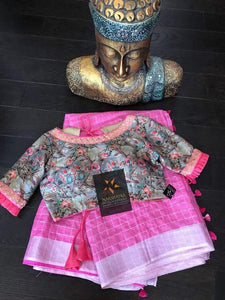 Designer Baby Pink Color With Printed Blouse Pcs. - Bollywood Replica Saree