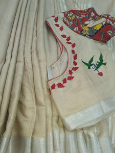 Attractive Cream Color With Cream Printed Blouse Heavy Linen Cotton Saree. (ms2091) - Bollywood Replica Saree