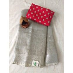 Attractive Gray Color With Gray Printed Blouse Heavy Linen Cotton Saree. (ms2093) - Bollywood Replica Saree