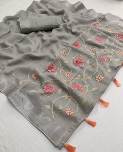Designer Gray Color Printed Linen Saree - Bollywood Replica Saree