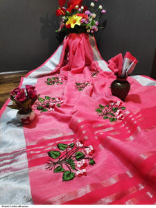 Exclusive Pink Color Flower Printed Waving Work Linen Saree - Bollywood Replica Saree