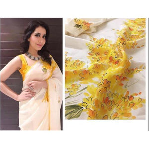 Designer White Color Yellow Flower Printed Linen Cotton Saree. - Bollywood Replica Saree