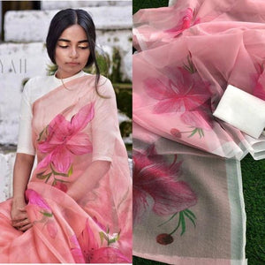 Exclusive Baby Pink Color Flower Printed Linen Cotton Saree. - Bollywood Replica Saree