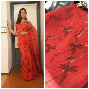Wonderfull Red Color Flower Printed Linen Cotton Saree. - Bollywood Replica Saree