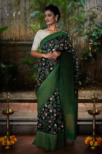 Designer Black Color Digital Printed Heavy Linen Cotton Saree. - Bollywood Replica Saree