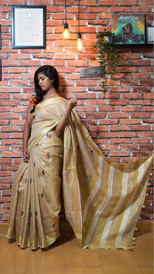 Wonderfull Cream Color Printed Heavy Linen Cotton Saree. - Bollywood Replica Saree