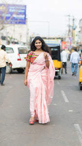 Wonderfull Baby Pink Color Heavy Linen Cotton Saree. - Bollywood Replica Saree