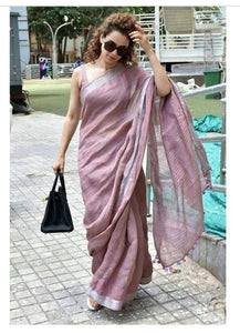 Designer Magenta Color Printed Pure Linen Saree. - Bollywood Replica Saree