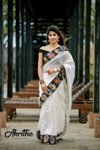 Stylish White Color Digital Printed Pure Linen Saree. - Bollywood Replica Saree