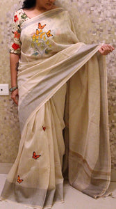 Stylish Cream Color Digital Printed Pure Linen Saree. - Bollywood Replica Saree