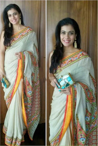 Stylish Sky Blue Color Digital Printed Pure Linen Saree. - Bollywood Replica Saree
