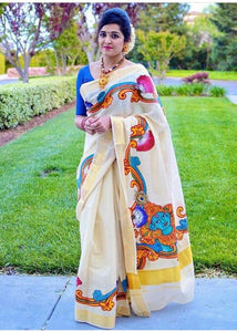 Exclusive Off White Color  Kalamkari Printed Pure Linen Saree. - Bollywood Replica Saree