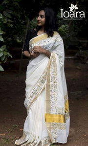 Stylish White Color Printed Soft Linen Saree. - Bollywood Replica Saree