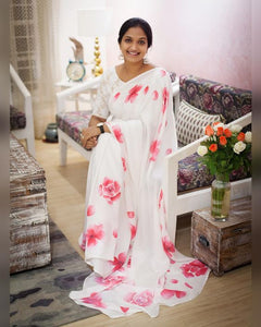Designer White Color Flower Printed Pure Linen Saree. - Bollywood Replica Saree