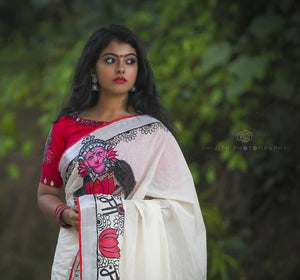 Traditional White Color Kalamkari Printed Pure Linen Saree. - Bollywood Replica Saree