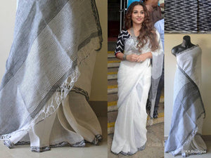 Wonderfull White Color Pure Linen Saree. - Bollywood Replica Saree