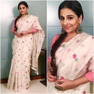 Celebrity Wear Baby Pink Color Flower Printed Linen Saree. - Bollywood Replica Saree
