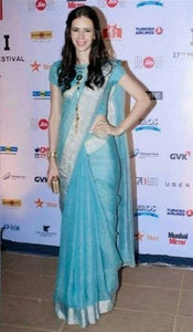 Celebrity Wear Sky Blue Color Heavy Linen Saree. - Bollywood Replica Saree