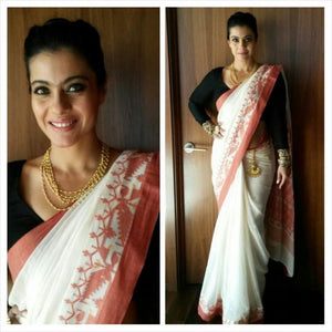 Bollywood Style White Color Flower Printed Heavy Linen Saree. - Bollywood Replica Saree
