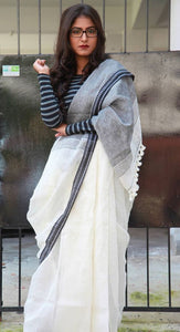 Trandy White Color Heavy Linen Saree. - Bollywood Replica Saree