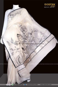 Exclusive White Color Traditional Printed  Heavy Linen Saree. - Bollywood Replica Saree