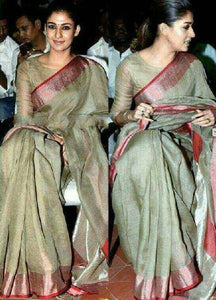 Nayanthara green Color Heavy pure Linen Saree. - Bollywood Replica Saree