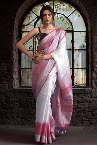 Exclusive White And Pink Color Pure Linen Saree. - Bollywood Replica Saree