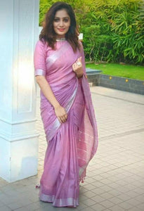 Designer Magenta Color Digital Printed Pure Linen Saree. - Bollywood Replica Saree