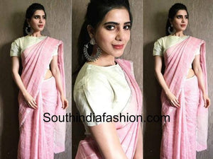 Fabulash Baby Pink Color Digital Printed Pure Linen Saree. - Bollywood Replica Saree