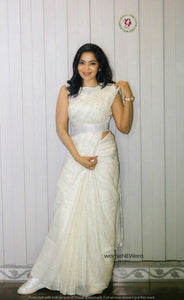 Traditional White Color Heavy Linen Saree. - Bollywood Replica Saree