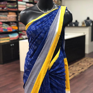 Wonderfull Royal Blue Color Digital Printed Pure Linen Saree. - Bollywood Replica Saree