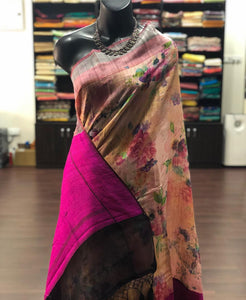 Exclusive Multi Color Flower Printed Pure Linen Saree. - Bollywood Replica Saree