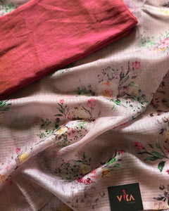 Designer Baby Pink Color Flower Printed Pure Linen Saree. - Bollywood Replica Saree