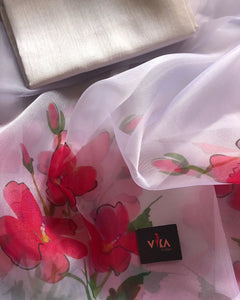 Exclusve Baby Pink Color Flower Printed Pure Linen Saree. - Bollywood Replica Saree