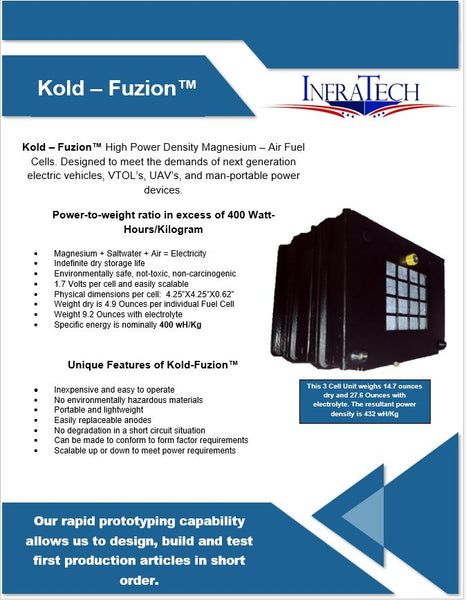 400wH Per KG Fuel Cell Kold Fuzion